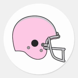 Pink Football Helmet Classic Round Sticker