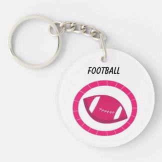 Pink Football Single-Sided Round Acrylic Keychain