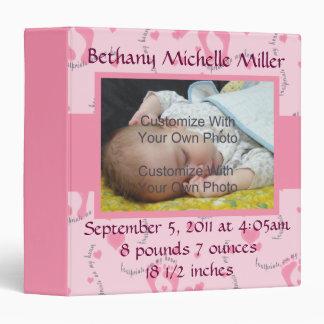 Pink Footprint Baby Photo Binder Album / 1.5 inch