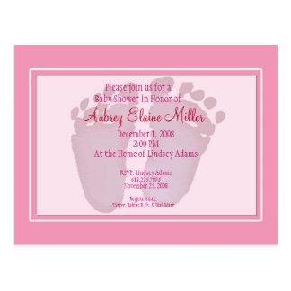 Pink Footprint Baby Shower Invitation Postcard