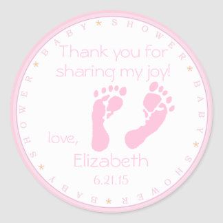 Pink Footprints Baby Shower Classic Round Sticker