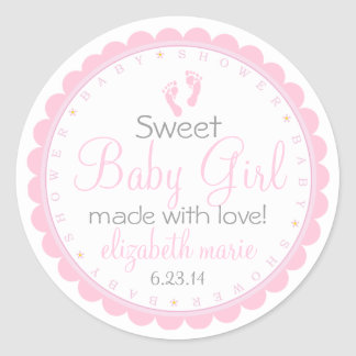 Pink Footprints- Baby Shower Favor Classic Round Sticker