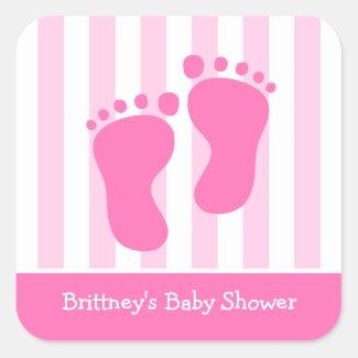 Pink Footprints Baby Shower Sticker