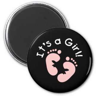 Pink Footprints It's a Girl 2 Inch Round Magnet