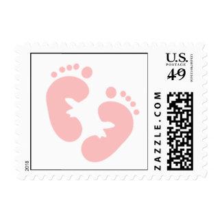 Pink Footprints Postage Stamps