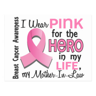 Pink For Hero 3 Mother-In-Law Breast Cancer Postcard