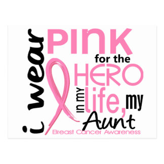 Pink For Hero In Life 2 Aunt Breast Cancer Postcard
