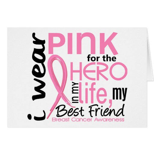 Pink For Hero In Life 2 Best Friend Breast Cancer Card