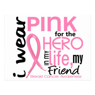 Pink For Hero In Life 2 Friend Breast Cancer Postcard