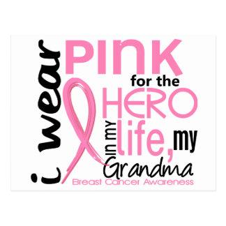 Pink For Hero In Life 2 Grandma Breast Cancer Postcard