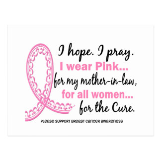 Pink For My Mother-In-Law Filigree Pink Ribbon Postcard