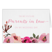 Pink Foral Future Parents in Law Wedding Card