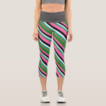 [ Thumbnail: Pink, Forest Green, Light Sea Green, White & Black Leggings ]