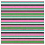 [ Thumbnail: Pink, Forest Green, Light Sea Green, White & Black Fabric ]