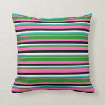 [ Thumbnail: Pink, Forest Green, Light Sea Green, White & Black Throw Pillow ]