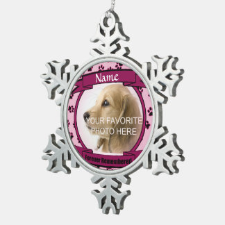 Pink Forever Remembered Dog or Cat Memorial Snowflake Pewter Christmas Ornament
