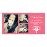 PINK FORMAL COLLAGE   WEDDING THANK YOU CARD CUSTOM PHOTO CARD
