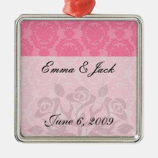 pink formal damask pattern metal ornament