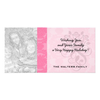 pink formal damask pattern photo card template