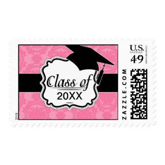 pink formal damask pattern postage stamp