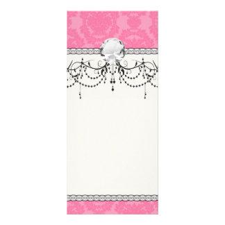 pink formal damask pattern rack card