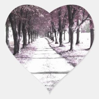 pink forrest gump road heart sticker