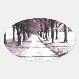 pink forrest gump road oval sticker