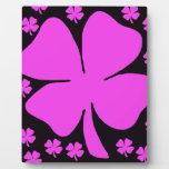 Pink Foulr Leaf clover Display Plaque