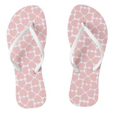 Beach Themed Pink Four Leaf Clover Hearts Flip Flops