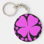 Pink Four Leaf clover Irish design Basic Round Button Keychain