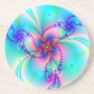 Pink Four Leaf Clover With Pastels Coaster