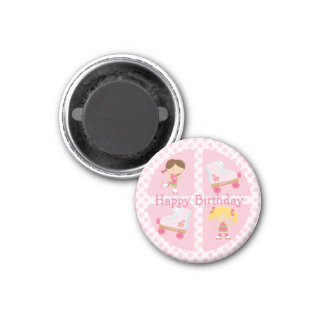 Pink Four Square Rollerskating Birthday 1 Inch Round Magnet