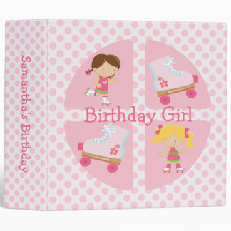 Pink Four Square Rollerskating Birthday 3 Ring Binder