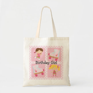 Pink Four Square Rollerskating Birthday Tote Bags