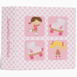 Pink Four Square Rollerskating Birthday Binder
