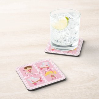 Pink Four Square Rollerskating Birthday Coaster
