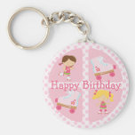 Pink Four Square Rollerskating Birthday Basic Round Button Keychain
