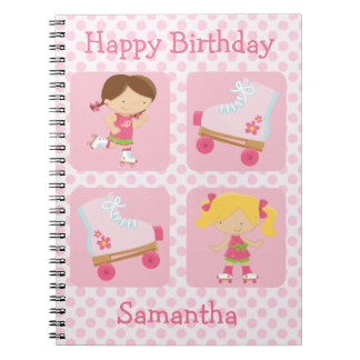 Pink Four Square Rollerskating Birthday Spiral Note Books