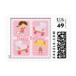 Pink Four Square Rollerskating Birthday Postage
