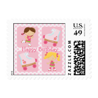Pink Four Square Rollerskating Birthday Postage Stamp