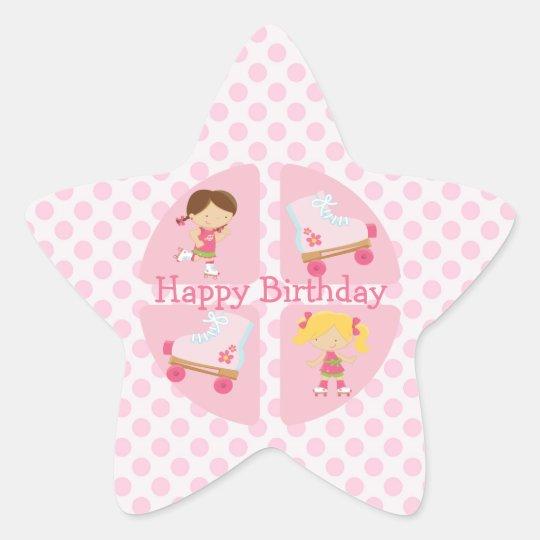 Pink Four Square Rollerskating Birthday Star Sticker
