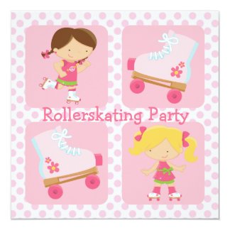 """Pink Four Square Rollerskating Party Invitation 5.25"""" Square Invitation Card"""