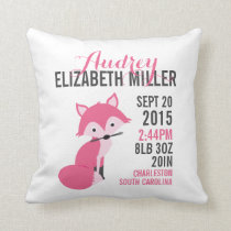 Pink Fox Birth Announcement Nursery Pillow