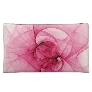 Pink Fractal Art Makeup Bags