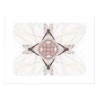 Pink Fractal Art Diamond Postcard