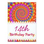 Pink Fractal Birthday Custom Announcements
