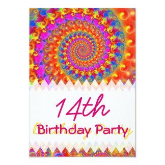 Pink Fractal Birthday 5x7 Paper Invitation Card