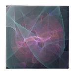 Pink Fractal Bow Small Square Tile