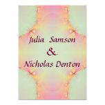 "Pink Fractal Bows Wedding 5"" X 7"" Invitation Card"