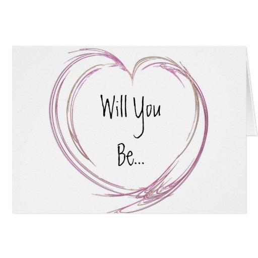 Pink Fractal Heart Be My Bridesmaid Greeting Card
